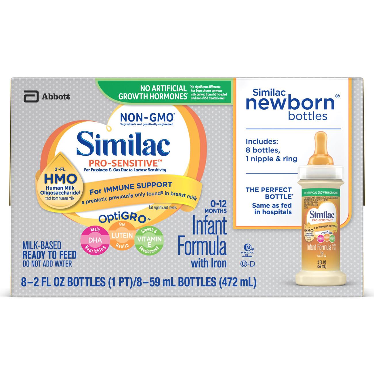 Similac Pro-Sensitive Non-GMO with 2'-FL HMO Infant Formula 2 oz Bottles (Pack of 8)
