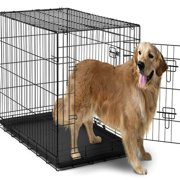 """Paws & Pals 42"""" Heavy Duty Foldable Double Door Dog Crate with Divider and Removable ABS Plastic Tray, 42"""" x 27"""" x 30"""""""