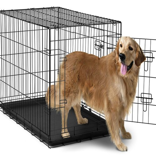 """OxGord 42"""" Heavy Duty Foldable Double Door Dog Crate with Divider and Removable ABS Plastic Tray, 42"""" x 27"""" x 30"""""""
