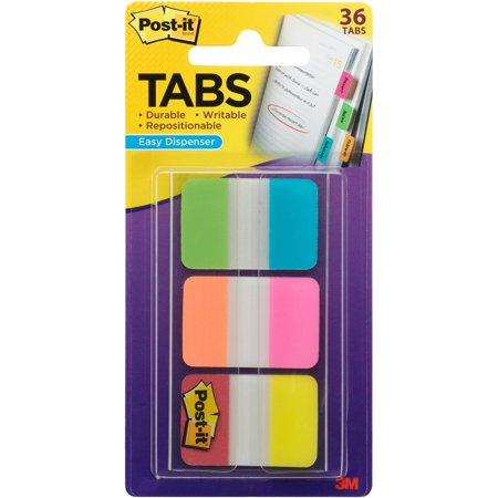 Post-it Tabs with Easy Dispenser, 1in. Tabs, Assorted Colors ()
