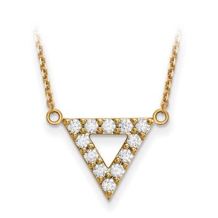 Diamond Triangle Necklace - 14ky AA Quality Diamond 3mm Triangle Necklace