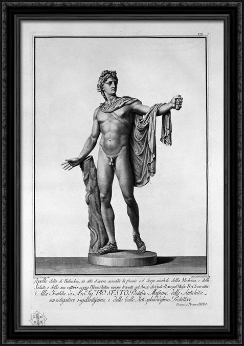 Apollo Belvedere 28x40 Large Black Ornate Wood Framed Canvas Art by Giovanni Battista Piranesi by FrameToWall