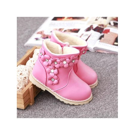 New Children Shoes Girls Snow Boots Small Flowers Princess Boots Cotton Shoes