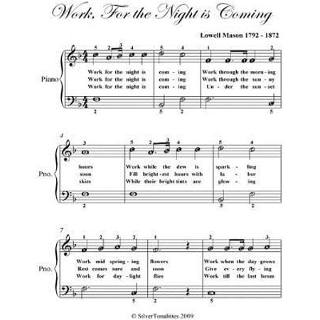 Work for the Night Is Coming - Easy Piano Sheet Music - eBook - Halloween Night Piano Sheet Music