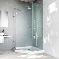 VIGO Verona 40 x 40 Frameless Neo-Angle .375-in. Clear Glass/Brushed Nickel Hardware Shower Enclosure with Low-Profile Base