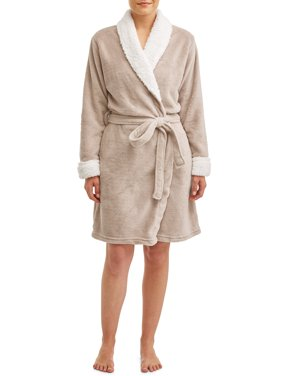Blue Star Clothing Women's 3/4 Length Plush Body Robe with Sherpa Trim Collar