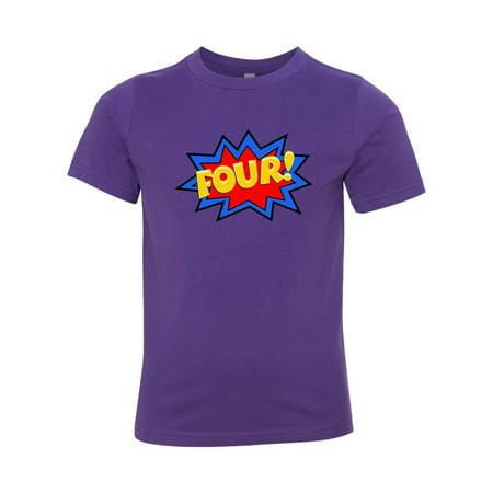 Birthday Girl Boy Shirt Four 4th Toddler Short Sleeve T
