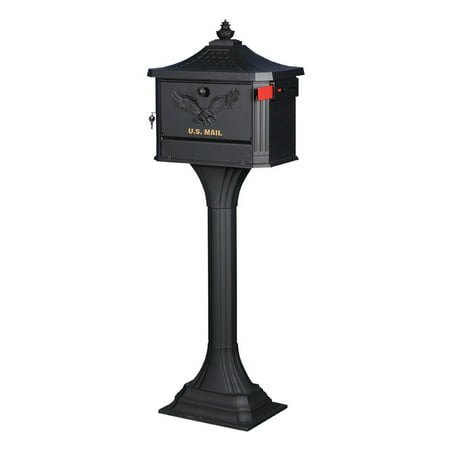 Gibraltar Mailboxes Pedestal Locking Large Capacity Cast Aluminum Black All-in-One Mailbox and Post Combo, PED0000B