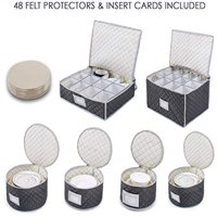 Woffit Luxurious Quilted Complete Dinnerware Storage Set for Storing or Transporting Fine China Dishes, Coffee Mugs, Tea Cups & Wine Glasses, Includes 48 Felt Protectors.