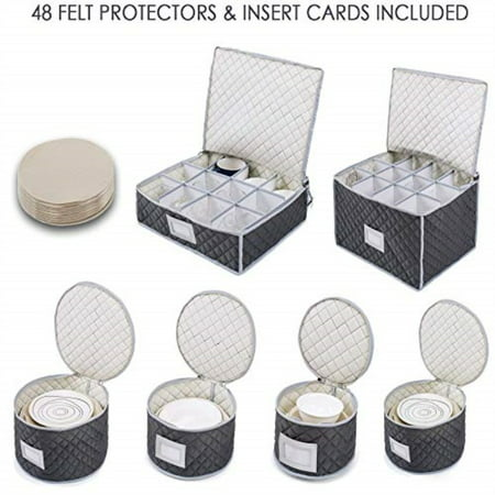 "Woffit Luxurious Quilted ""Complete Dinnerware Storage Set†#1 Best Protection for Storing or Transporting Fine China Dishes, Coffee Tea Cups, & Wine Glasses – Includes 48 Felt Protectors for"