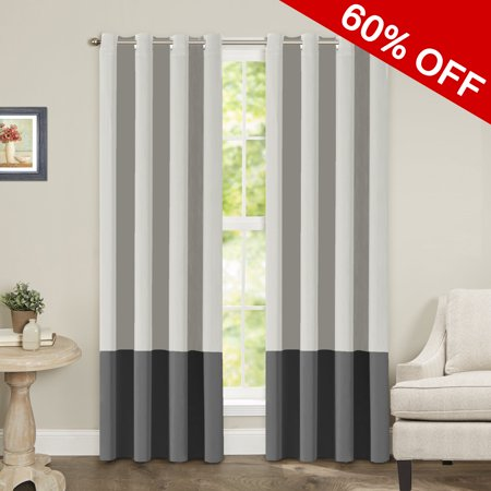 Thermal Insulated Grommeteyelet Top Color Block Blackout Curtains