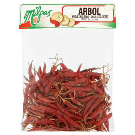 (3 Pack) Milpas Arbol Whole Chile Pods 3 oz. Arbol Dried Chile Chili Pepper