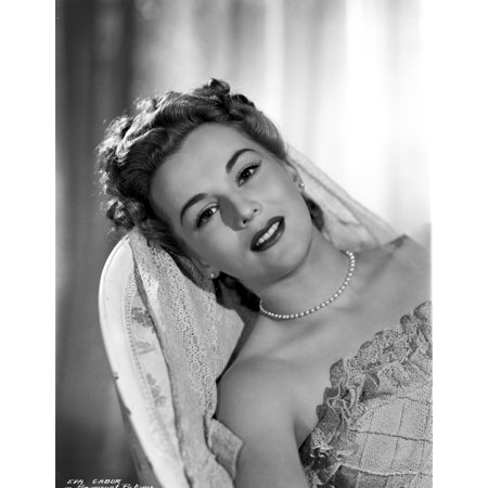 Eva Gabor On A Wedding Gown Leaning Portrait Photo Print