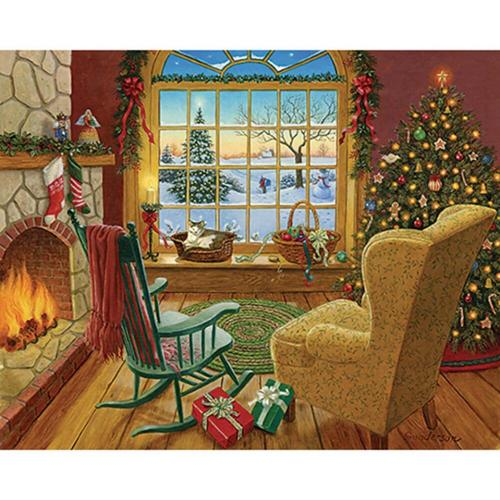 White Mountain Cozy Christmas Cat Jigsaw Puzzle