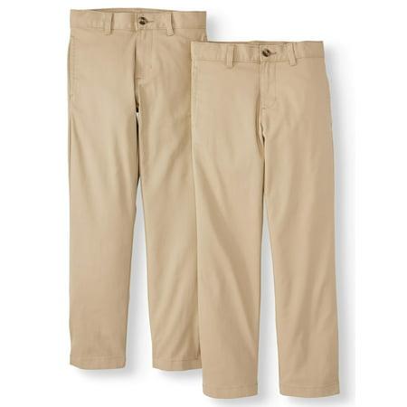 Wonder Nation Boys School Uniform Twill Pants with Double Knee, 2-Pack (Little Boys & Big Boys) ()