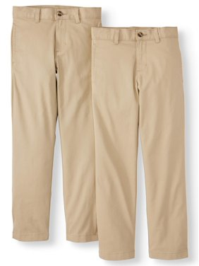 Wonder Nation Boys 4-18 School Uniform Twill Pants with Double Knee, 2-Piece Value Pack