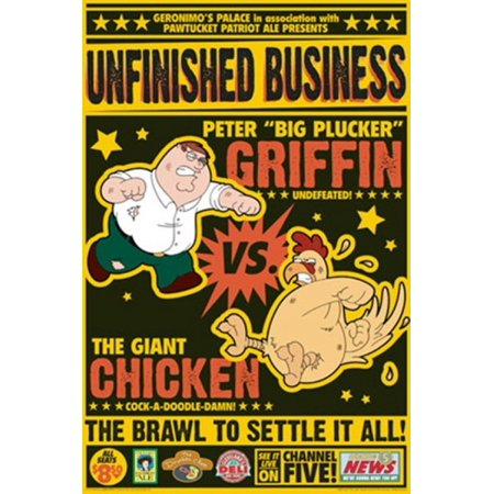 Peter Griffin Vs The Giant Chicken Poster Poster Print by ()