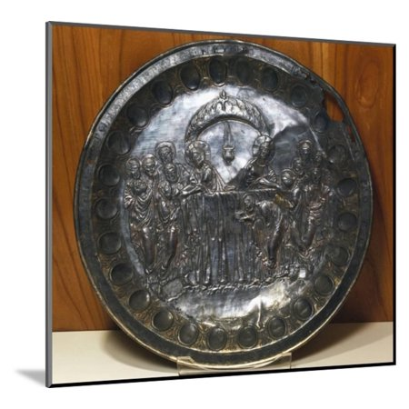 Silver Plate Depicting the Last Supper, from Aleppo, Syria, Byzantine Civilization, 5th Century Wood Mounted Print Wall (Last Supper Collector Plate)