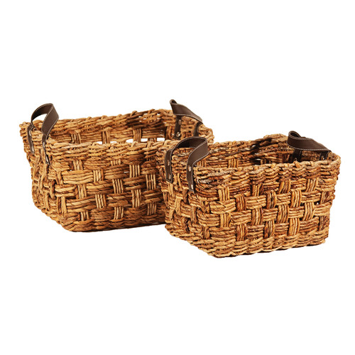 Ibolili 2 Piece Cross Weave Wicker Basket Set