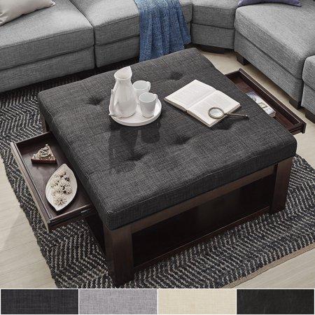 Swell Inspire Q Lennon Espresso Square Storage Ottoman Coffee Andrewgaddart Wooden Chair Designs For Living Room Andrewgaddartcom