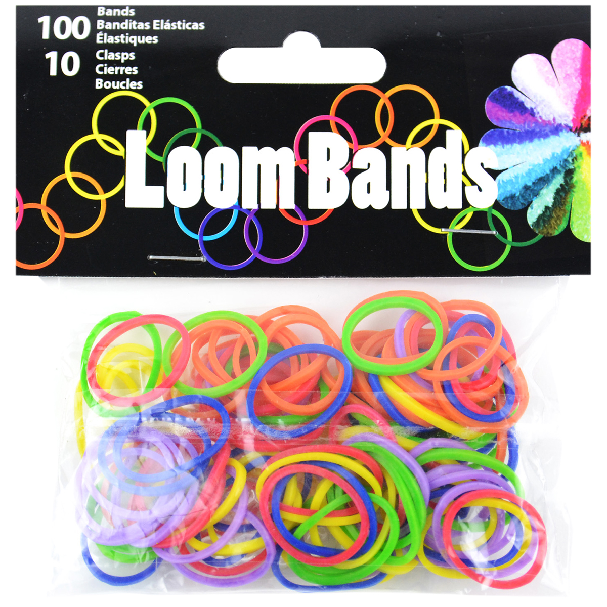 Loom Bands with Clasps, 100 Bands and 10 Clasps, Primary Assortment