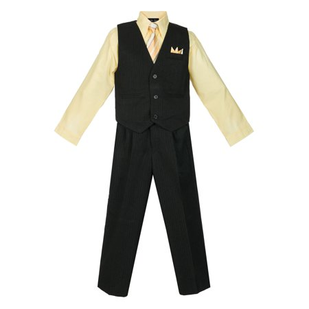 Avery Hill Boys 4 Piece Pinstripe Vest Set - Purple Aladdin Vest