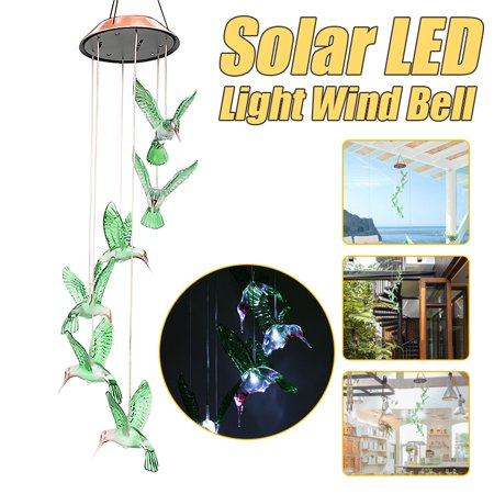 Solar Wind Chime LED Changing Light Waterproof Six Hummingbird Wind Chimes For Home Party Night Outdoor Garden Yard Decoration