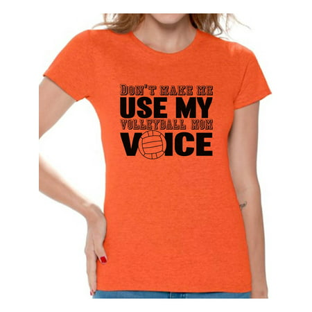 Awkward Styles Women's Don't Make Me Use My Volleyball Mom Voice Graphic T-shirt Tops Black Sport Moms ()