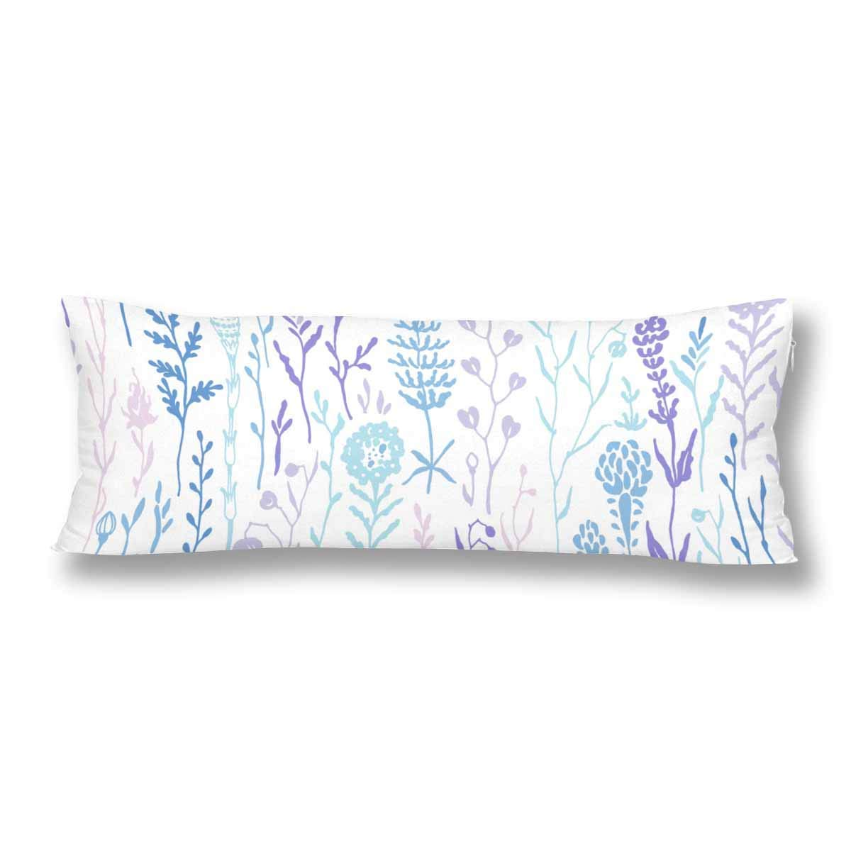 ABPHOTO Hand Drawn Meadow Plant Blue Purple Summer White Body Pillow Covers Case Protector 20x60 inch