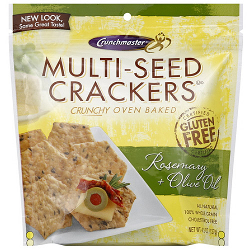 Crunchmaster Multi-Seed Rosemary & Olive Oil Crackers, 4.5 oz (Pack of 12)