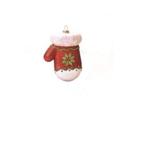 4 Merry & Bright Red  White and Green Glitter Shatterproof Mitten Christmas Ornament
