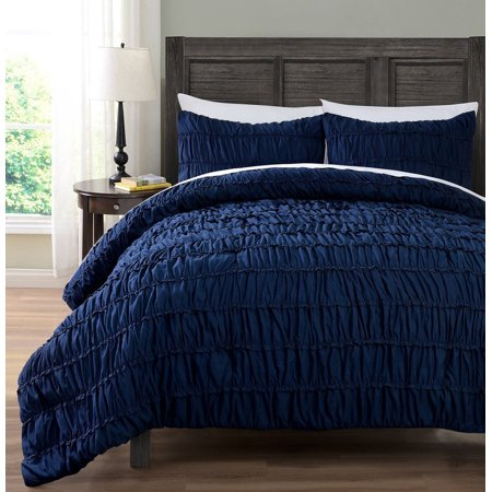 Valley Bedding Collection - 3pc Comforter set, NAVY BLUE Color Ruched Collection By Cozy Beddings
