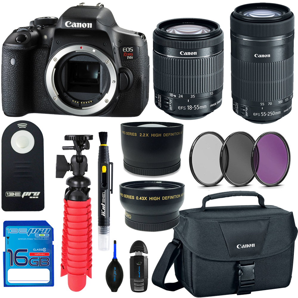 Canon EOS Rebel T6i DSLR Digital Camera + 18-55mm EF-S f/3.5-5.6 IS II Lens + Canon EF-S 55-250mm f/4-5.6 IS STM Lens + Pixi Basic - Accessory Bundle Kit