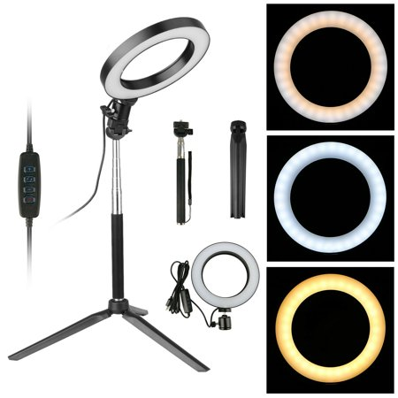 """EEEKit Ring Light Kit, 6"""" Outer 3-Light Color 5500K Dimmable LED Ring Light, Light Stand, Carrying Bag for Camera,Smartphone,YouTube,Self-Portrait Shooting"""
