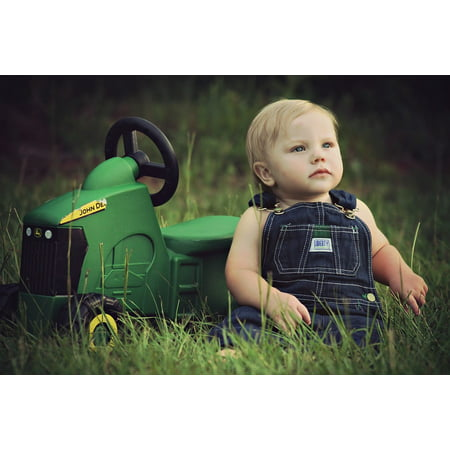 LAMINATED POSTER Portrait Baby Child Toy Tractor Adorable Boy Poster Print 24 x 36 ()