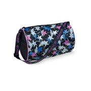 Danshuz Girls Black Pink Blue Silver Star Screen Print Microfiber Duffel Bag