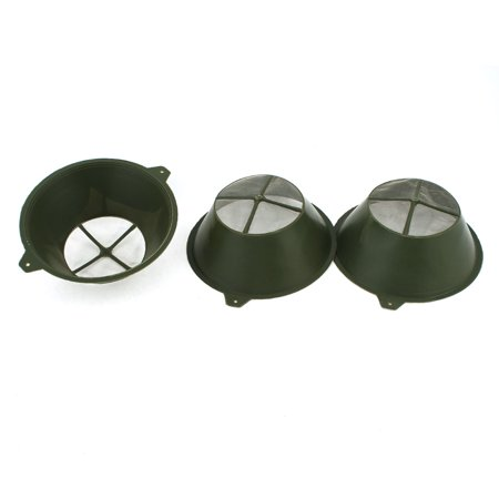 Flat Bottom Strainer - Unique Bargains 3Pcs Nylon Mesh Bottom Plastic Paint Filters Strainers Sieve Army Green
