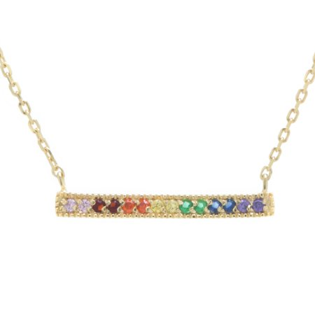 Marisol & Poppy 14kt Gold Plate Over Fine Sterling Silver Rainbow Cubic Zirconia Bar Necklace 18 inches