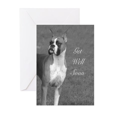 CafePress - Get Well Soon Boxer Dog Greeting Cards - Greeting Card, Blank Inside Glossy