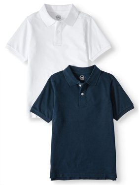 Wonder Nation Boys 4-18 School Uniform Short Sleeve Pique Polo Shirts, 2-Piece Value Pack