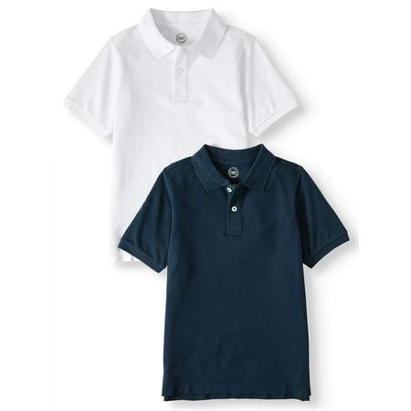 Wonder Nation Boys 4-18 School Uniform Short Sleeve Pique Polo Shirts, 2-Pack Value Bundle