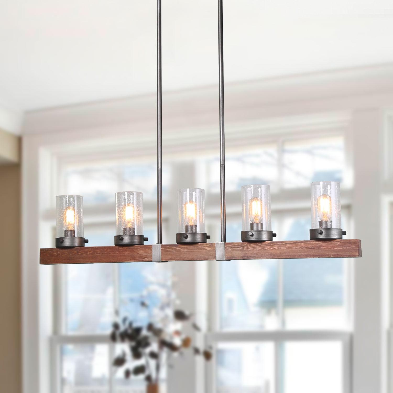 lnc 5 light chandelier linear wood kitchen island pendant