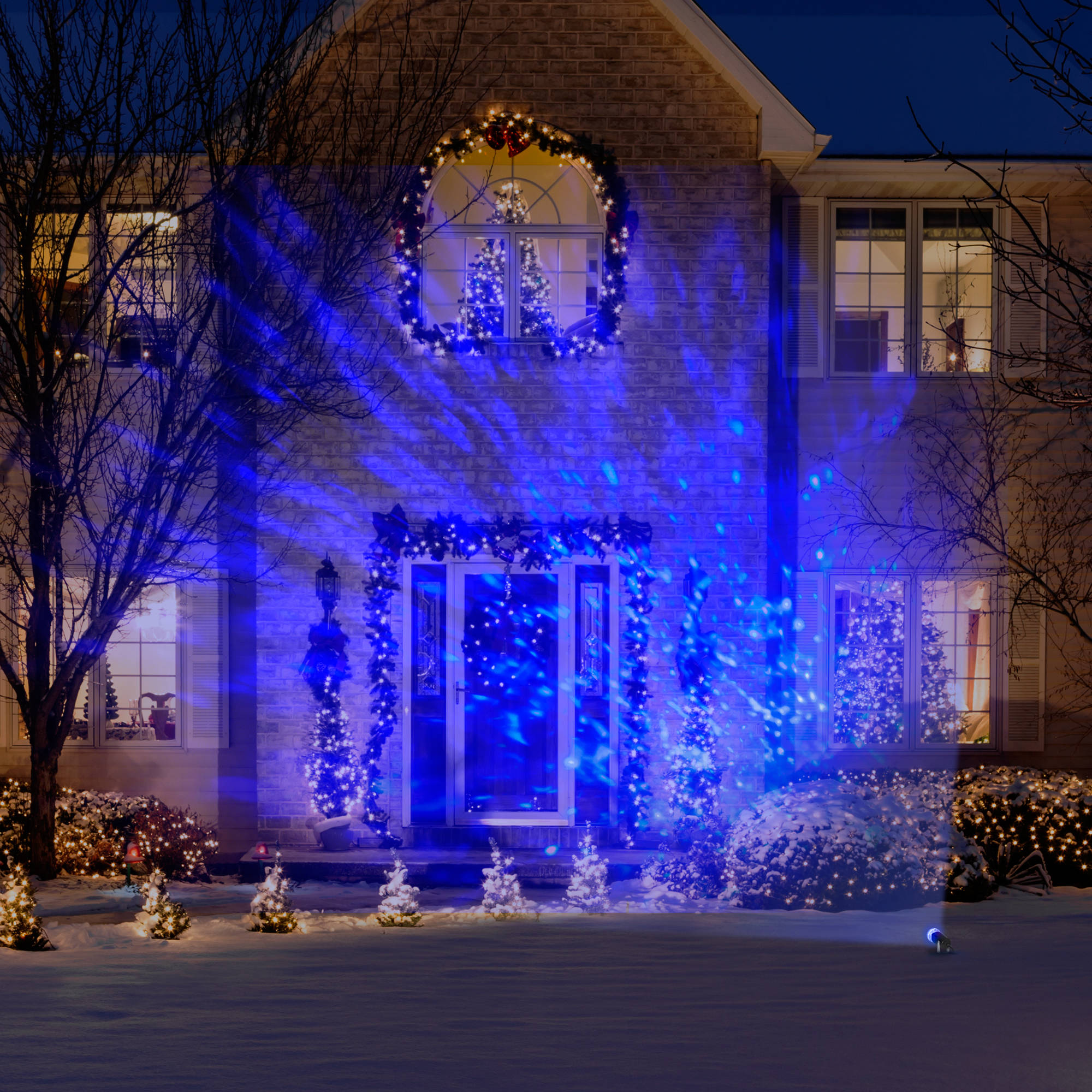 lightshow christmas laser kaleidoscope lights icy blue walmartcom - Blue And White Outdoor Christmas Decorations