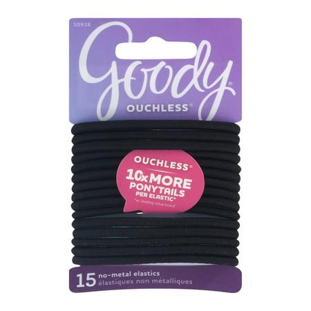 (2 Pack) Goody Ouchless No Metal Elastics, Little Black Dress, 15 count Blax Hair Elastics