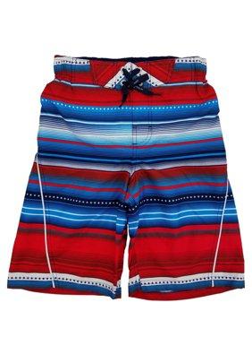 Boys Red White & Blue Striped Surf Shorts Swim Trunks Board Shorts