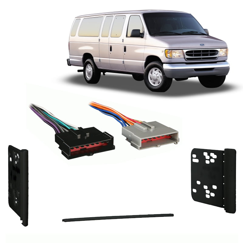 Fits Ford Econoline Full Size Van 1997 Double DIN Harness Radio Dash Kit Parts & Accessories Automotive