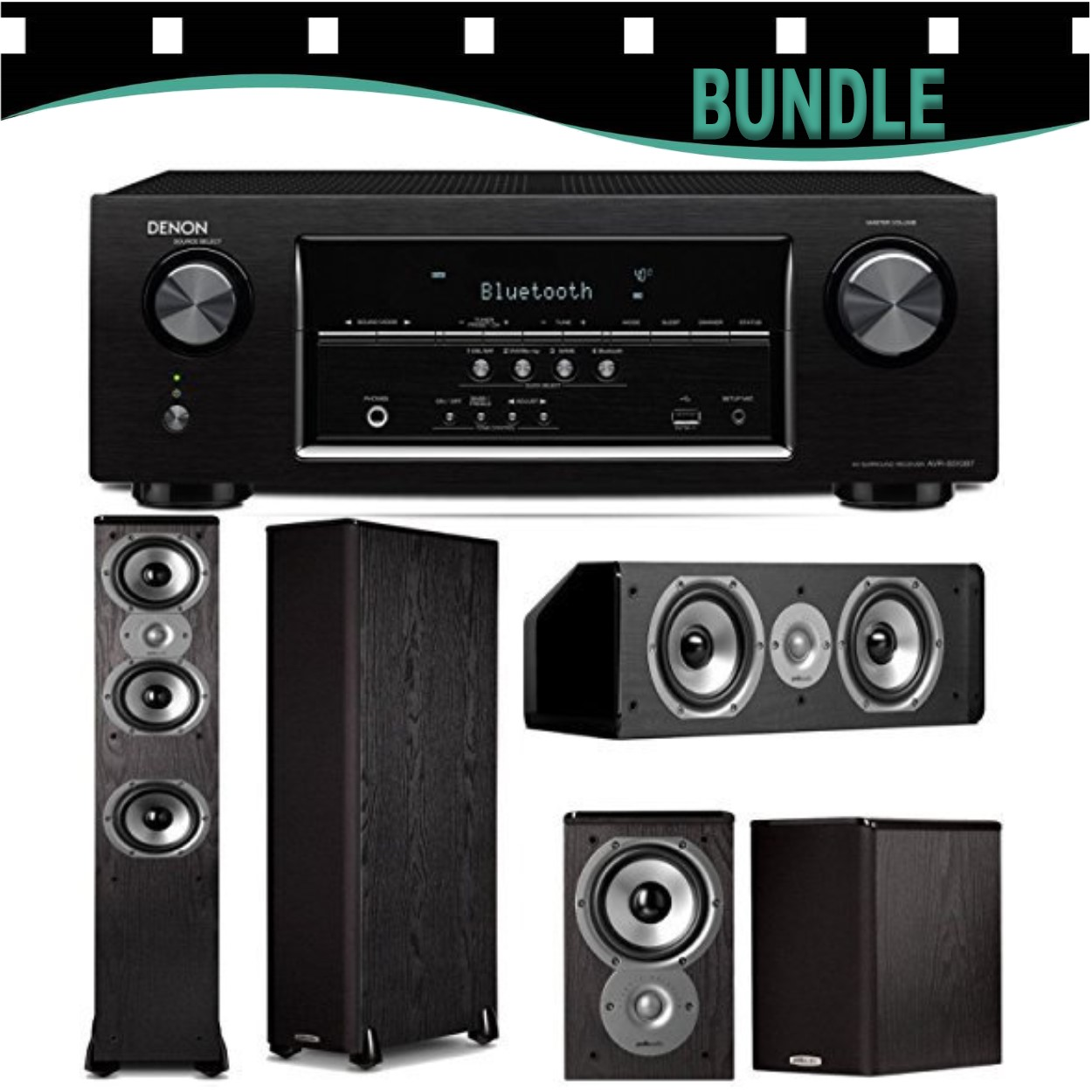 Denon AVR-S510BT 5.2-Channel Receiver with Polk TSi Bundle (TSi400, TSi100, CS10) Speakers
