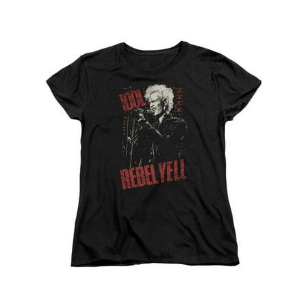Billy Idol 80's Punk Rock Singer Rebel Yell Brick Wall Women's T-Shirt Tee - 80s Punk Rock Fashion