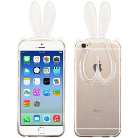 Apple iPhone 6/6S MyBat Candy Skin Cover with Rabbit Ears/Plastic Lanyard (Apple Lanyard)
