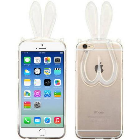 Apple iPhone 6/6S MyBat Candy Skin Cover with Rabbit Ears/Plastic Lanyard - Apple Lanyard